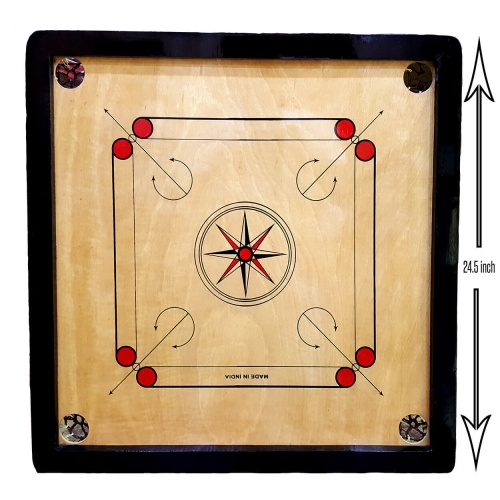 24 inch Carrom Board 4mm with Free Coins + Striker + Powder
