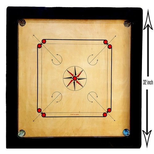 32 inch Carrom Board 8mm with Free Coins + Striker + Powder