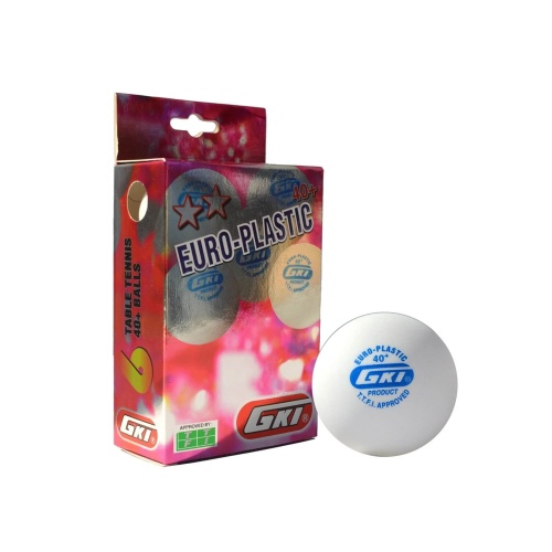 GKI Euro Plastic 40+ Table Tennis Ball, Pack of 6