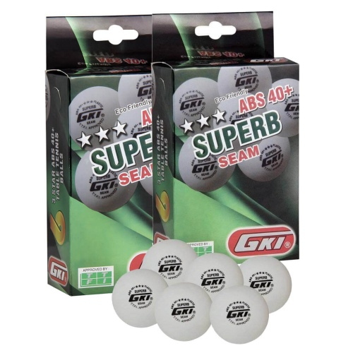 GKI Superb 3 Star ABS 40+ Plastic Table Tennis Ball, Pack of 12