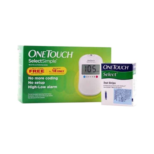 One Touch Select Simple Glucometer with 10 Free Strips