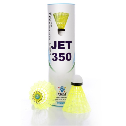 Vicky Jet 350 Nylon Shuttlecock Yellow (Pack of 2)