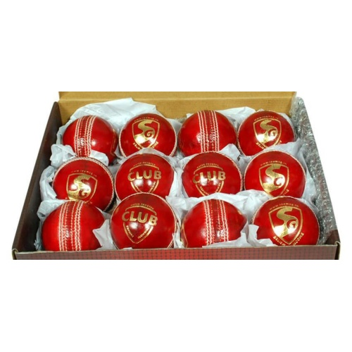 SG Club Leather Ball (Red) - Pack of 12 Balls