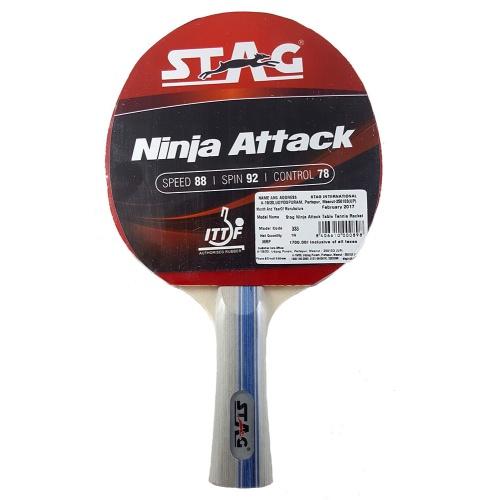 Stag Ninja Attack Table Tennis Racquet (I.T.T.F. Approved Rubber)