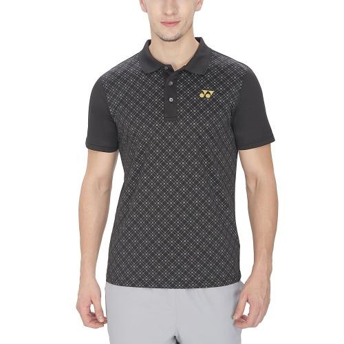 Yonex Geometric Print Collar Tshirt - Black