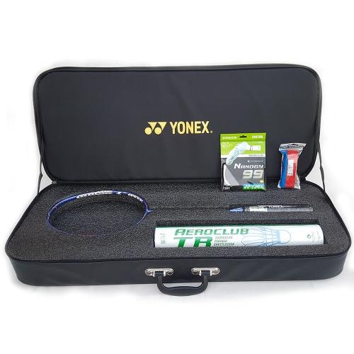 Combo: Yonex Duora 10 LCW Rio Limited Edition Badminton Racket with Aeroclub TR, Nanogy 99 and Towel Grip