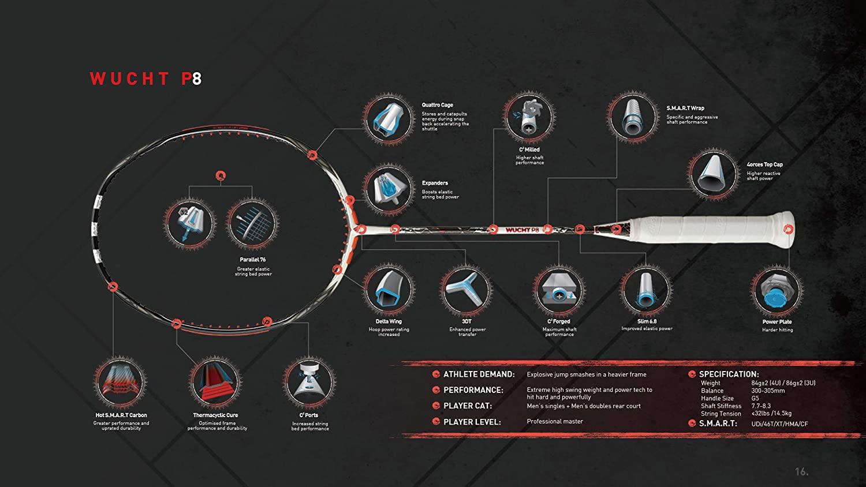 wucht p8 badminton racket features