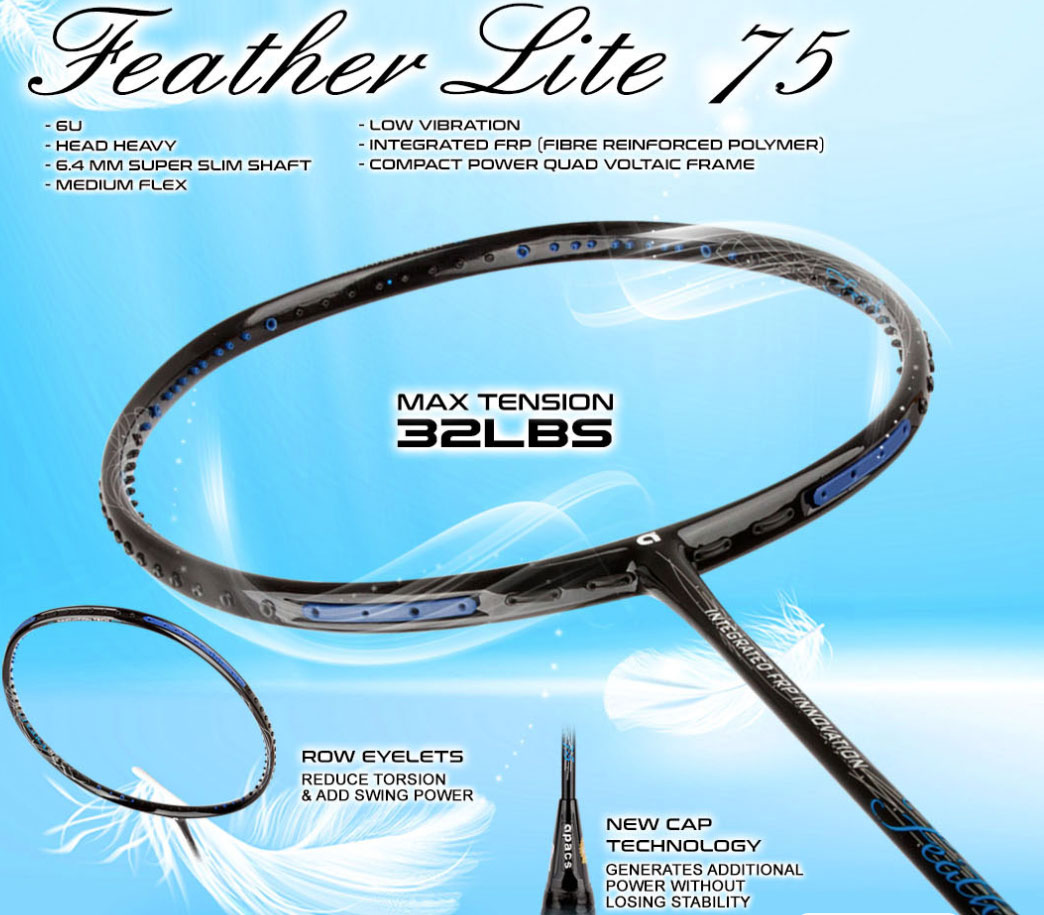 feather lite 75 badminton racket details