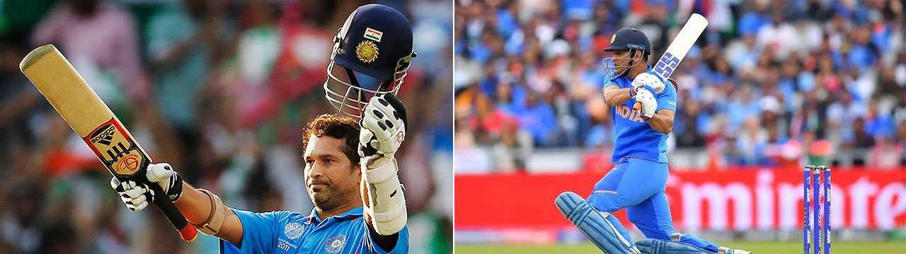 sachin-dhoni playing with heavy bats