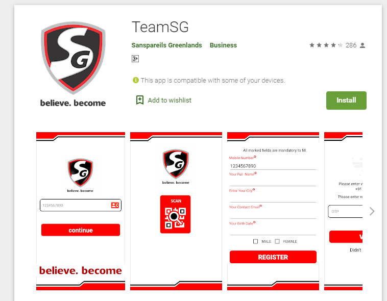 sg team app from playstore