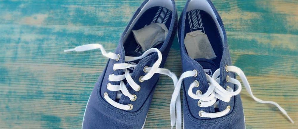 tea bags inside shoes