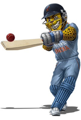 sportsuncle mascot with cricket bat