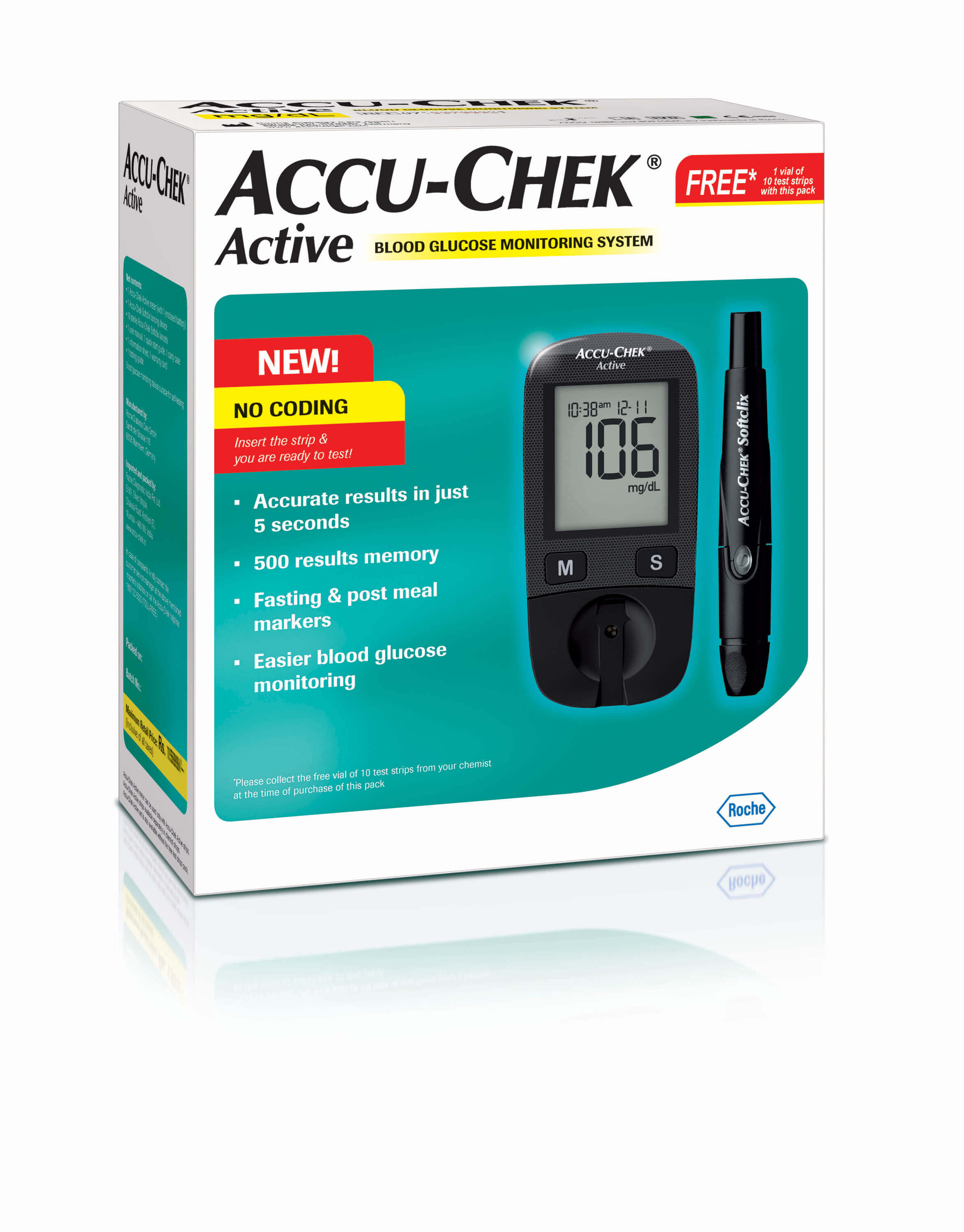 Free Blood Glucose Meter >> Accu Chek Active Glucose Meter With 10 Free Strips No Coding