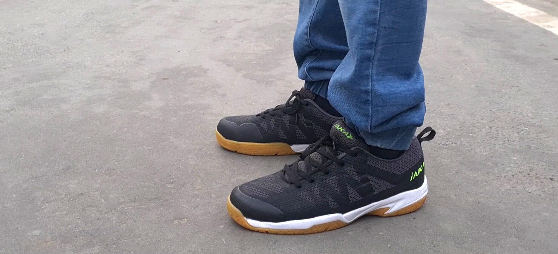 carbon badminton shoes on court