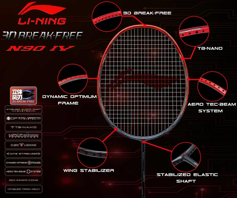 n90 iv badminton racket