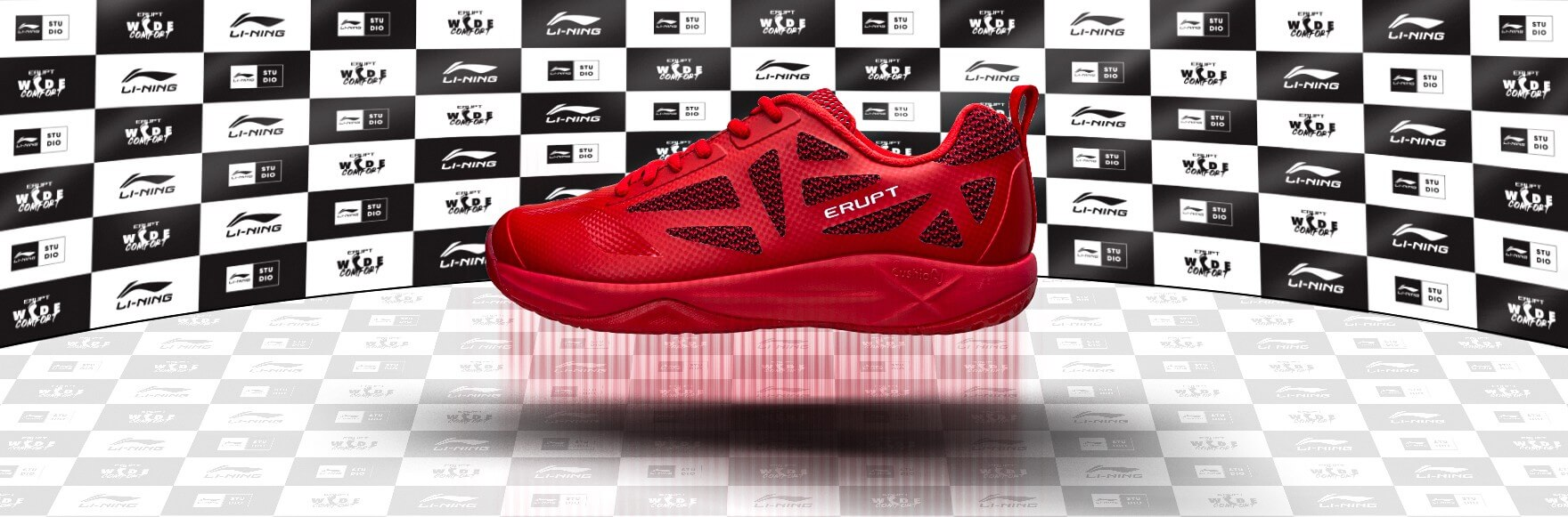lining erupt shoes red