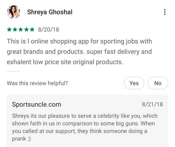 customer review sportsuncle