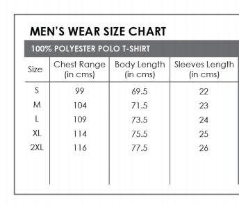 polo tshirt size chart