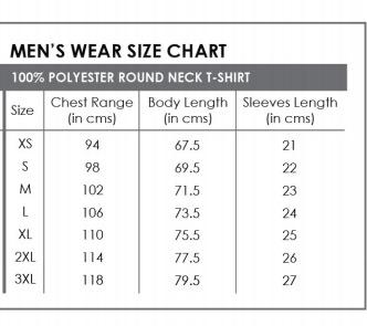 round neck size chart