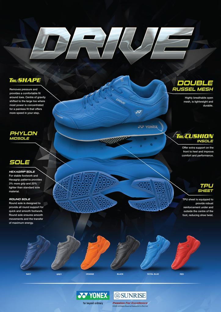 yonex badminton shoes drive features